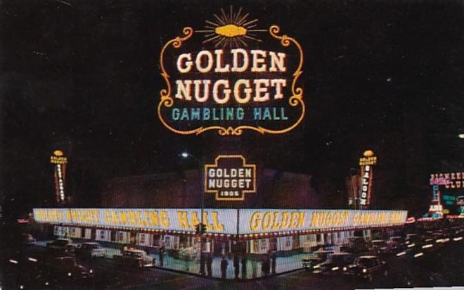 Nevada Las Vegas Golden Nugget Gambling Hall Saloon and Restaurant At Night