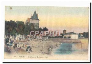 Pornic Old Postcard The castle beach