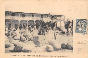 Djibouti Chargement de Caravane pres de la Douane, Camels 1904