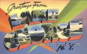 Lake George, NY USA Large Letter Town Vintage Postcard Old Post Card Antique ...