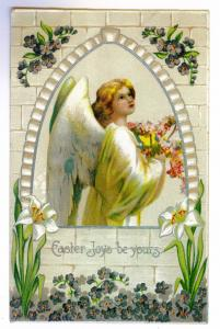 Arlington to Remsen, New York 1909 used Embossed Easter Postcard, ANGEL