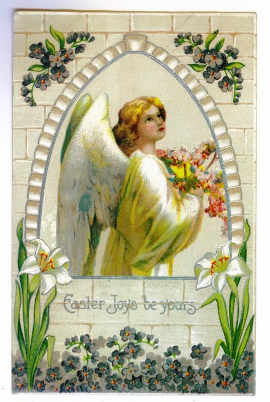 Arlington to Remsen, New York 1909 used Embossed Easter Postcard, ANGEL