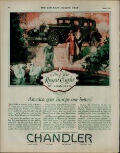 1927 Chandler Royal Eight CarSwans Pond Women Walking Vintage Print Ad 3911