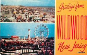 Amusement Ferris Wheel Wildwood New Jersey Aerial View 1950s Freeman 9281