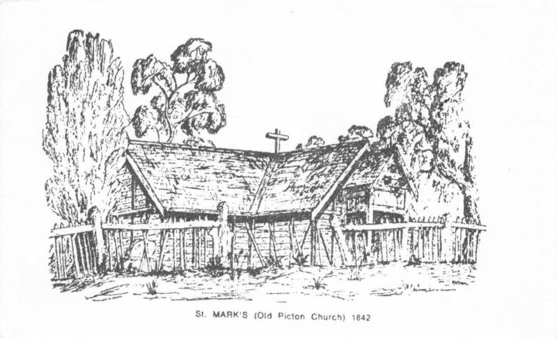Postcard Art Sketch 1842 OLD PICTON Western Australia St. Mark's Church