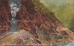 FEATHER RIVER CANYON, California, 1900-1910's; Western Pacific Railway Tunnel...