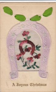 Embroidered Purple Horseshoe A Joyous Christmas