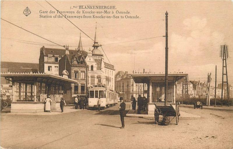 Blankenberghe Belgium . Tramway Station From Knocke-On-Sea To Ostende Postcard