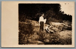 Postcard RPPC c1915s Men Washing Dishes in Lake Possibly Wisconsin Lot of 2
