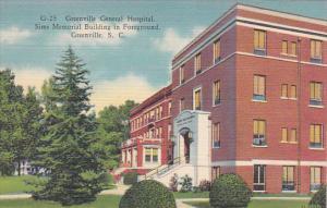 Greenville General Hospital, Sims Memorial Bldg, Greenville, South Carolina, ...