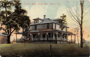 F27/ Akron Ohio Postcard c1910 Crook's Hotel Long Lake
