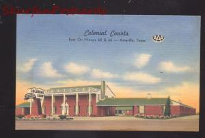 AMARILLO TEXAS COLONIAL COURTS MOTEL AAA ROUTE 66 ADVERTISING POSTCARD