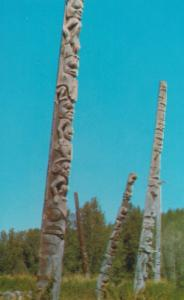 Totem Poles at Kitwancool Indian Village Skeena River BC Canada Postcard