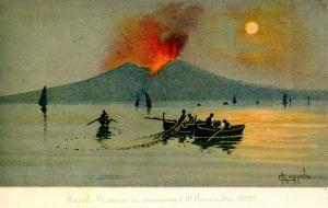 Italy -  Naples. Mt Vesuvio Eruption in 1899.  Artist: Coppola