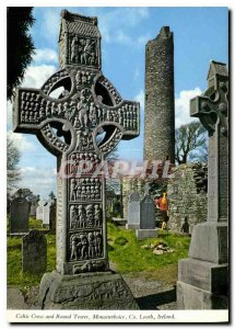 Postcard Modern Celtic Cross and Round Tower Monasterboice Co Louth Ireland
