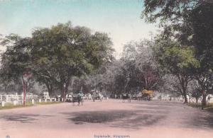 Esplanade Rickshaw Boys Singapore Antique Postcard