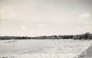 Bedford Iowa~Lake of Three Fires Beach~Platform~Lifeguard Stand~Swings~1962 RPPC