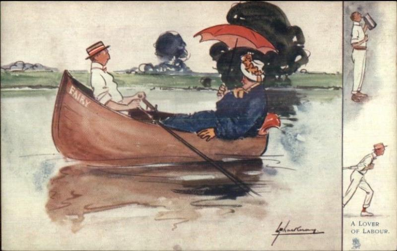 TUCK Lance Thackeray River Humour Boating Fat Woman Skinny Man c1910 PC