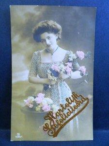 5 Postcard RPPC Dutch Tinted Photo Pretty Woman Hartelijk Gefeliciteerd Birthday
