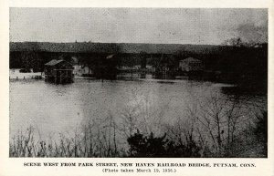 CT - Putnam. Flood Scene West from Park St, March 19, 1936. NHRR Bridge