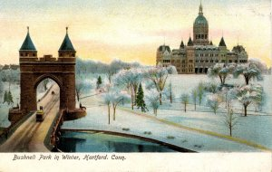 CT - Hartford. Bushnell Park and Capitol in Winter