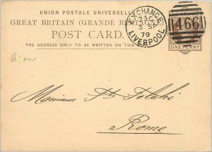 Entier Postal Stationery Postal Britain Great Britain in 1879 Liverpool to Rome