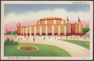 Railroad Building,New York World's Fair 1939 Postcard