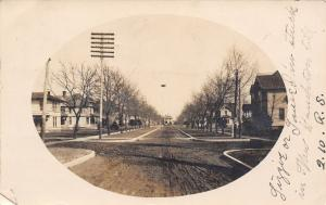 New Hampton Iowa~N Chestnut Street Ends in a T~Homes, Many Gone 1907 RPPC
