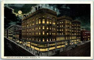 Norfolk, Virginia Postcard MONTICELLO HOTEL, BY NIGHT Full Moon / 1919 Cancel
