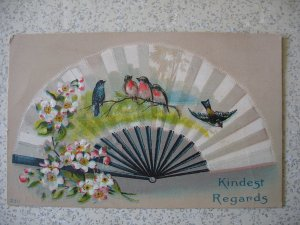 FAN with BIRDS; embossed. 1912 Kindest Regards