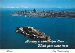 Alcatraz Island aerial view Federal Penitentiary San Francisco Bay United States