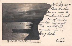 East Tawas Michigan Tawas Beach Moonlight Scene Real Photo Postcard JJ658850