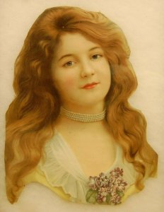 Large Victorian Printed Image Young Girl  Scrap Over 11 Tall  - B2