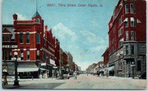 Cedar Rapids, Iowa Postcard THIRD STREET Downtown Street Scene w/ 1916 Cancel