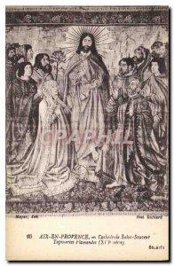 Old Postcard Aix en Provence Cathedrale Saint Sauvenur XVI century Flemish ta...