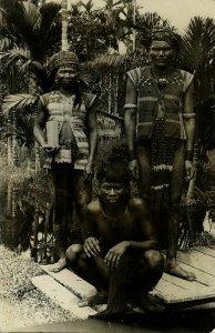 malay malaysia, BORNEO SARAWAK, 3 Native DAYAK Warriors (1910s) RPPC Postcard