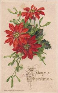 Embossed, Poinsetta flower, A Joyous Christmas, PU-1914