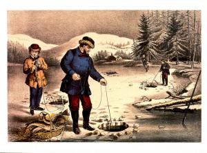 Currier & Ives (Repro) - Winter Sports, Pickerel Fishing -  Size: 6.625 X 4....