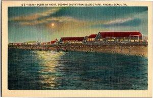 Beach at Night, Looking South From Seaside Park Virginia Beach VA Postcard S03