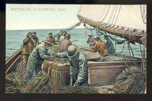 Gloucester, Massachusetts/MA Postcard, Baiting Up On Fishing Boat