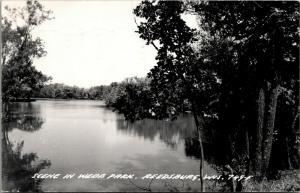Reedsburg Wisconsin~Scene in Webb Park~Trees Reflect in Water~1960s RPPC