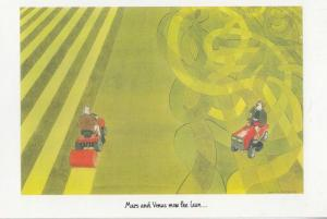Mars & Venus Mow The Lawn Animal Lawnmowers Painting Postcard