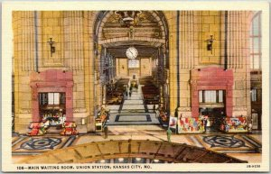 KANSAS CITY, MO Postcard Main Waiting Room, UNION STATION Fred Harvey Linen