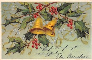 US3427 Merry Christmas, Branch Bells Mistletoe Embossed greetings
