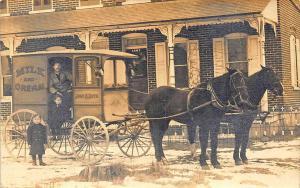 John Roth Milk Horse & Delivery Wagon Real Photo RPPC Postcard