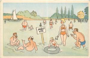 Hungary strand humour Mely Viz ( deep water ) vintage comic postcard