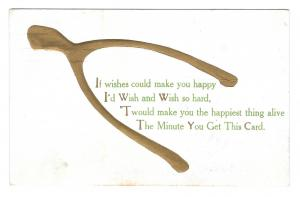 Motto Poem Gold Gilt Wishbone 1909 Lightly Embossed Postcard