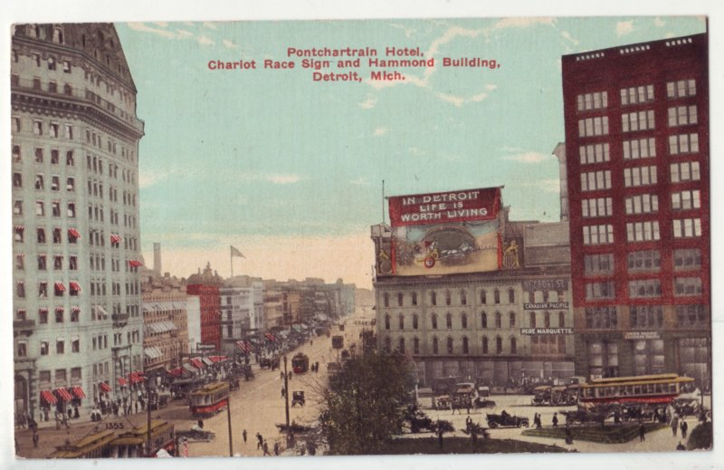 P1211 1913 postcard used hotel with charot race sign & hammon bldg detroit mich.