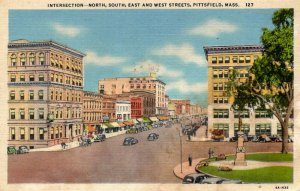 Pittsfield, Massachusetts - Downtown - North, South, East and West Sts. - c1940