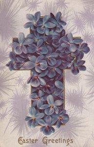 EASTER Greetings, 1900-1910's; Cross Of Purple Flowers